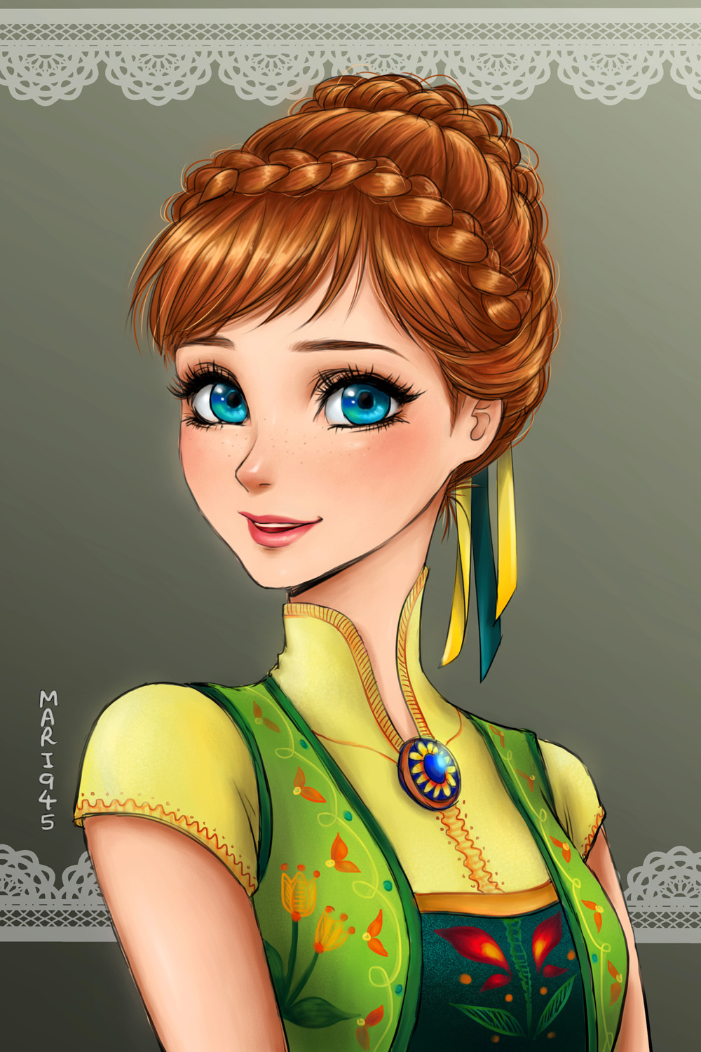 Disney Princesses Re-Imagined in Anime Portraits - Digital Art Mix