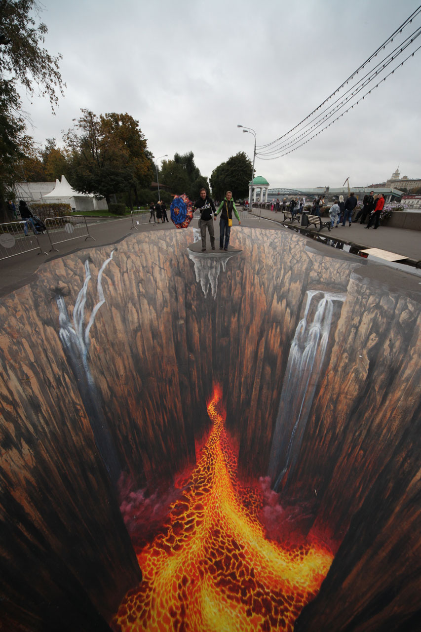 Optical Illusions Created by 3D Street Pavement Art - Kamino Saber