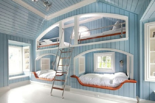 Blue Bunk Beds White Floor Amazing Beds with Blue Wall
