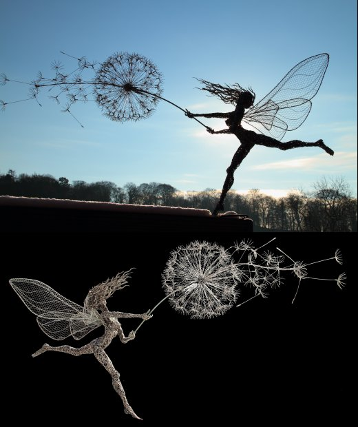 fantasy wire fairy sculptures. Black Bedroom Furniture Sets. Home Design Ideas